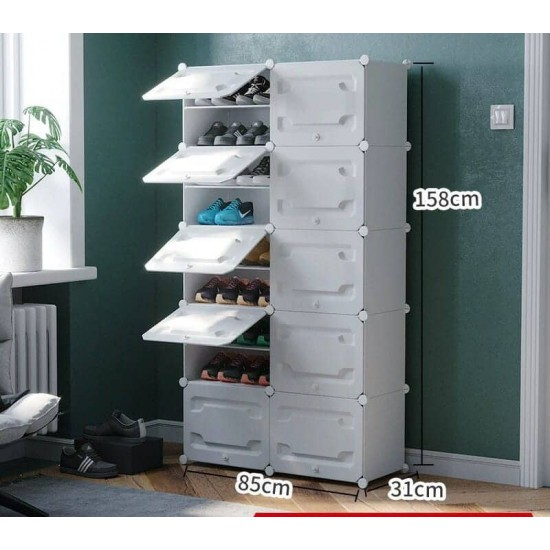 خزانة احذية بلاستيكية طويله تحتوي على 10 دفات موديل 852-5