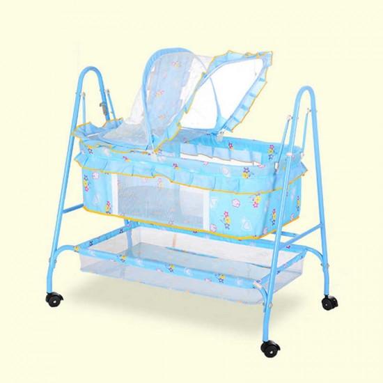 سرير اطفال مع ناموسية وعجلات ودفة سفلية