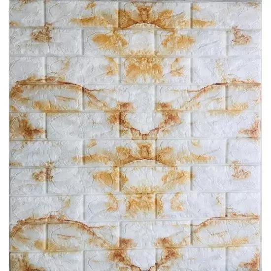 ملصقات جداريه عل شكل احجار باللون الابيض مع ذهبي BD-AH019