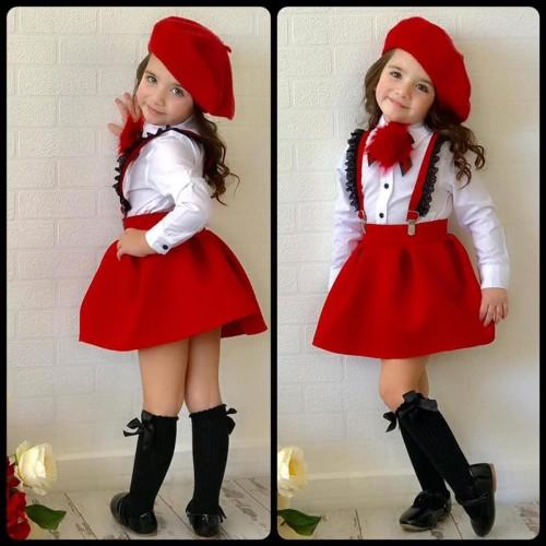 طقم بناتى عصرى مميز باللون الاحمر وبلوزة بيضاء مع طاقية