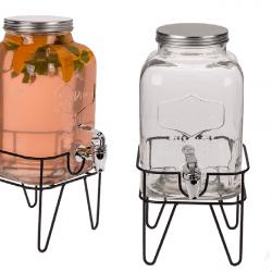وعاء زجاج مفرد للعصائر مع ستاند معدني