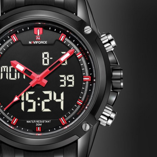 ساعة رجالية ستيل ماركة Naviforce 9050 متوفرة بـ4 ألون مختلفة