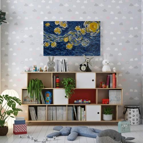 """"""" ليلة النجوم للفنان فان كوخ """"  لوحه فنية جدارية لديكور المنزل مرسومة يدويه بالالوان الزيتيه على لوحة كانفاس"""
