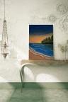 """"""" شاطئ الغروب  """" لوحة فنية جدارية لديكور المنزل مرسومة يدوياً بألوان الاكريليك على لوحة كانفاس"""
