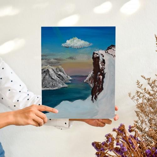 """"""" القطب المتجمد """" لوحه فنية جدارية لديكور المنزل مرسومة يدويا بالوان الاكريليك على لوحة كانفاس"""