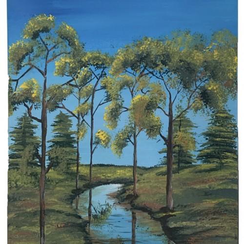 """"""" فجر بداية فصل الخريف """" لوحه فنية جدارية لديكور المنزل مرسومة يدويا بالوان الاكريليك على لوحة كانفاس"""