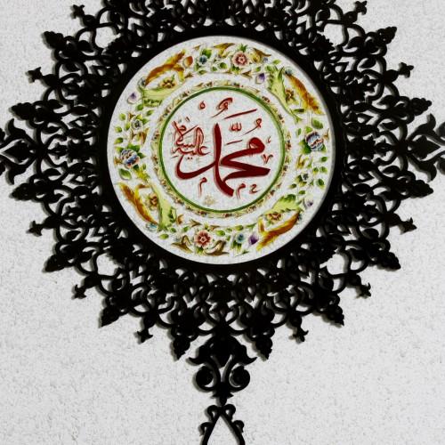جدارية دائرية رسم ع زجاج مع خشب سي ان سي