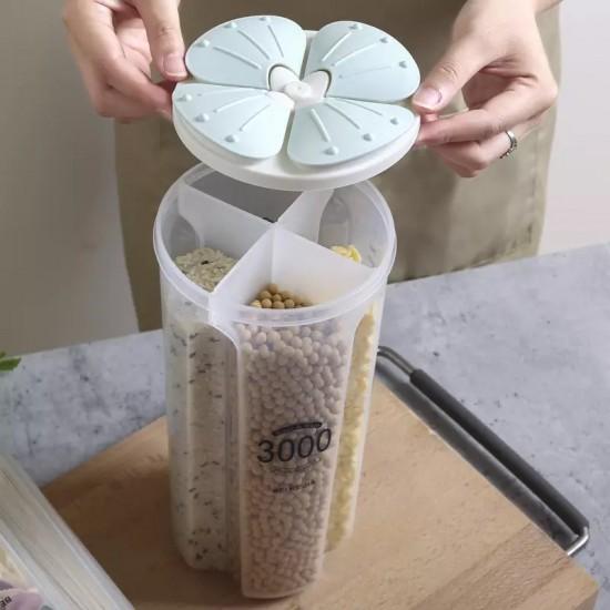 وعاء اربع اقسام لحفظ الحبوب والبقوليات